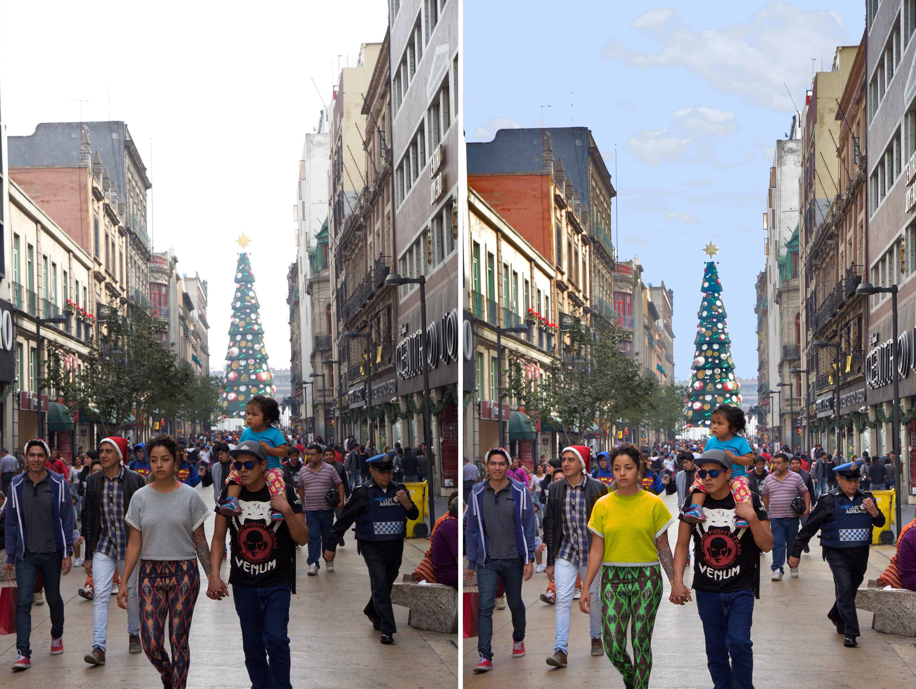 People walking down Mexico City Street