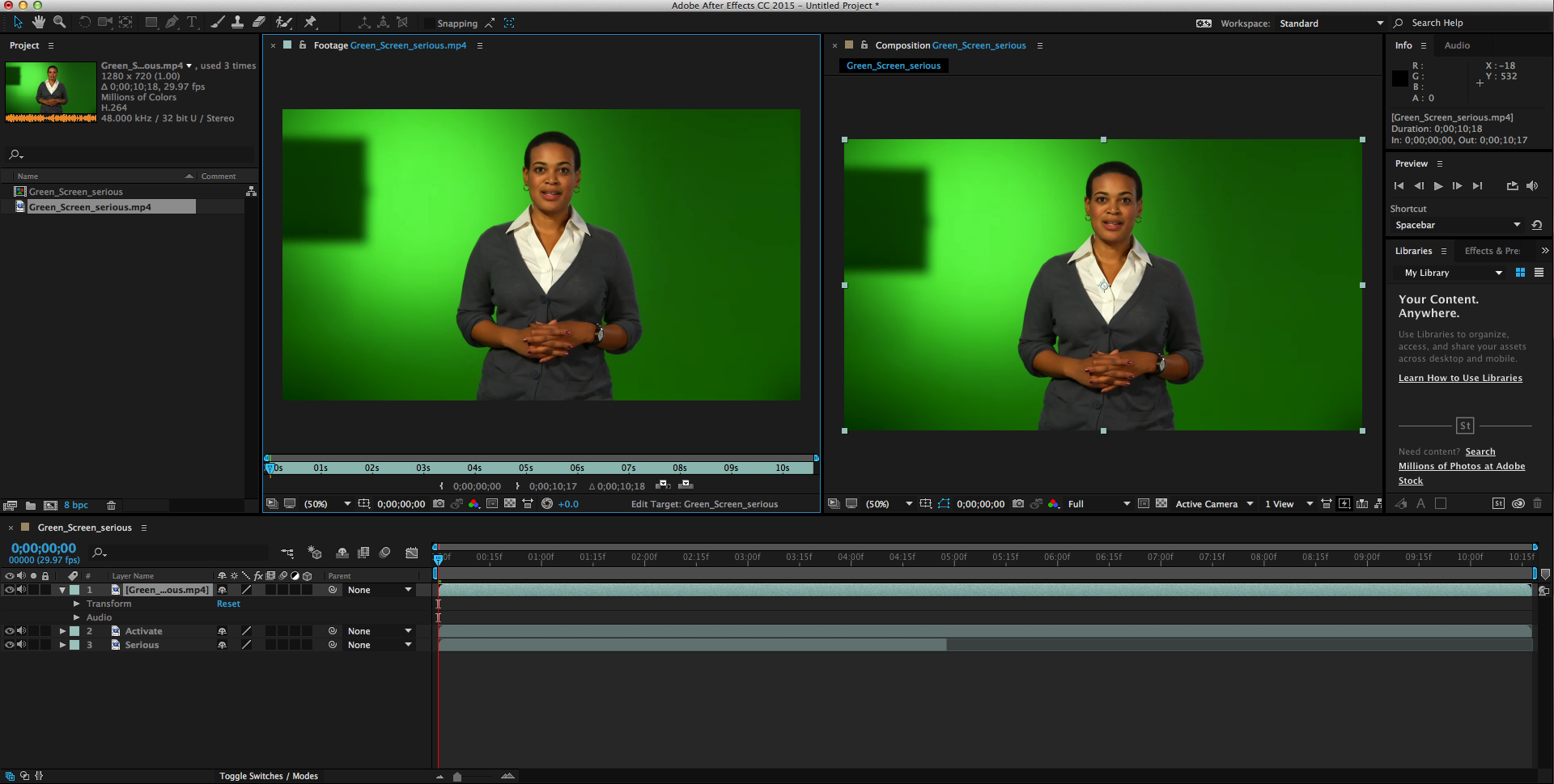 After Effects 2 Green Screen Example